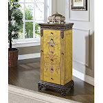 Antique Parchment Hand Painted Jewelry Armoire