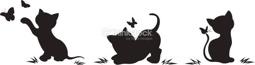 Siluetas De Gatos Con Mariposas Arte Vectorial Thinkstock