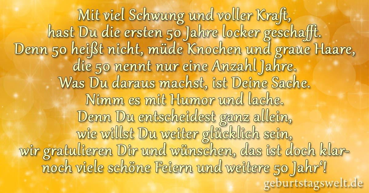 Gedicht Zum 50 Geburtstag Lustig Und Kurz