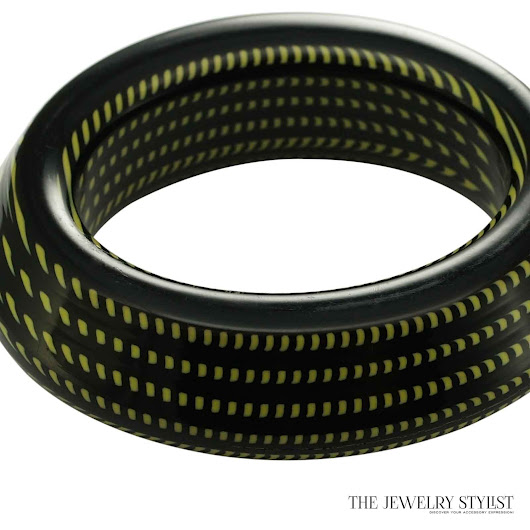 Chunky Italian Black & Lime Green Hard Resin Bangle