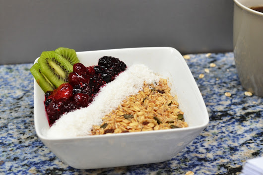 Oaty-licious Vegan Breakfast with Coconut and Mixed Berry Coulis
