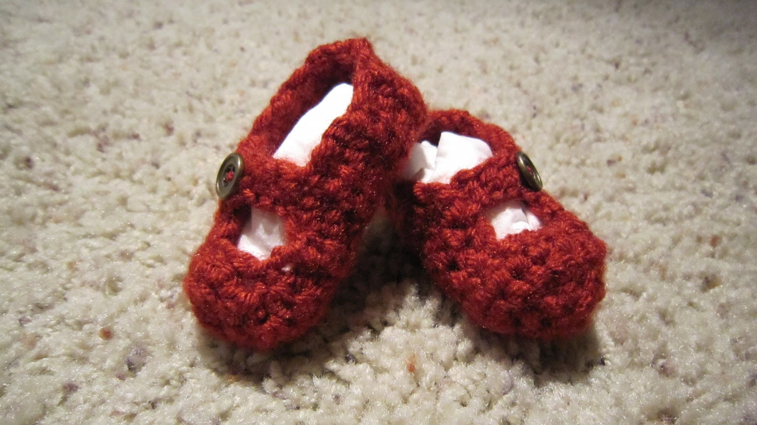 Crocheted Baby Mary Janes- Red with Bronze Buttons