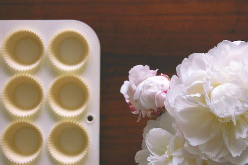 peonies + cupcake liners