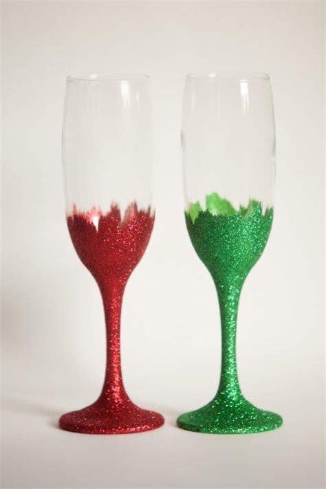 6 x Christmas Glitter Bottom Champagne Flutes Wine Glasses