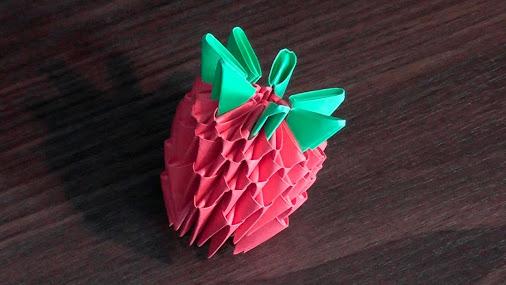 Модульное оригами клубника из