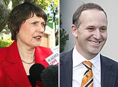 John Key (right) has overtaken Helen Clark as New Zealand's preferred Prime Minister.