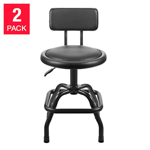 Ultra Cushioned Swivel Shop Stool with Deluxe BACKREST 2-Pack