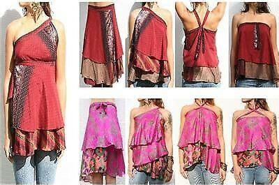 lot vintage sari magic silk wrap skirts summer beach