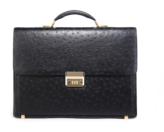 Luxury Ostrich Grain Mens Black Leather Briefcase IJIX878789 PILAEO