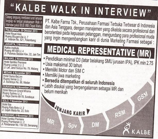 Lowongan Medical Representative PT Kalbe Farma - Farmaloker