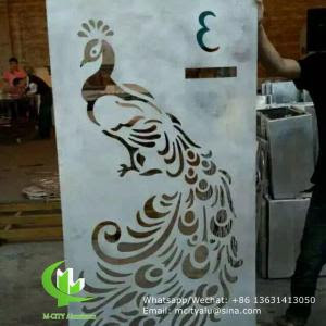 Aluminum Laser Cut Panel Sheet For Lobby Decoration With Peacock