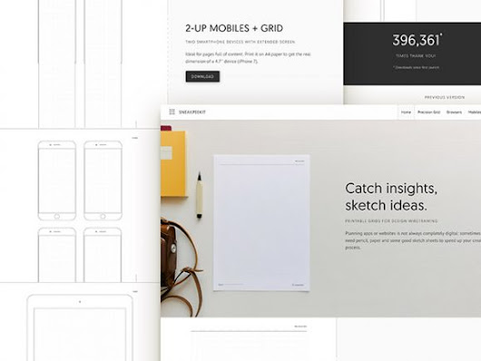 Sneakpeekit: Printable sheets for design wireframing Free PSD File Download