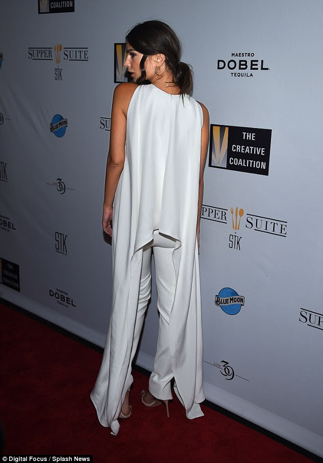 All white on the night: The 24-year-old stunner wowed in white on the red carpet
