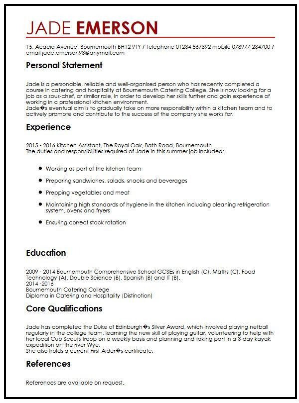 cv example for teenagers