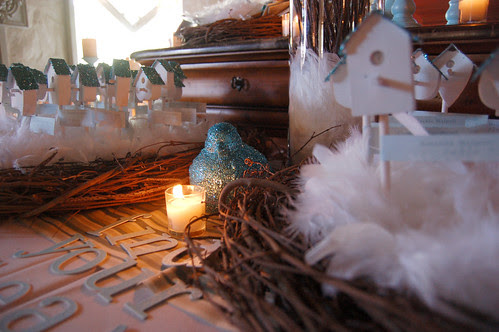 Birdhouse Placecards in Feathered Nests