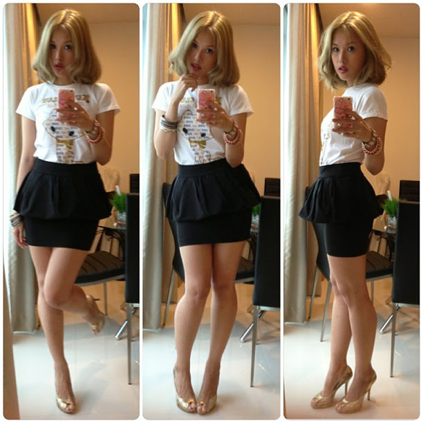 #ootd Printed T with peplum skirt. #zara #peplum #aldo #heels #shoes #shoe #lotd #lookoftheday #outfitoftheday #liposonix #clozette #ashblonde #asian #ash #grey #haircolor