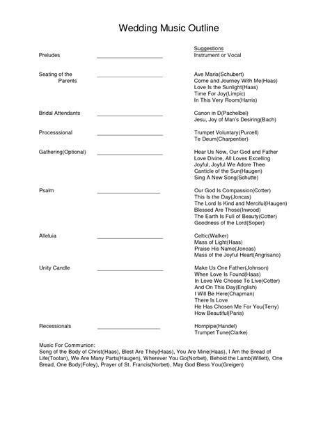 Wedding Music Outline. Document Sample Wedding Music