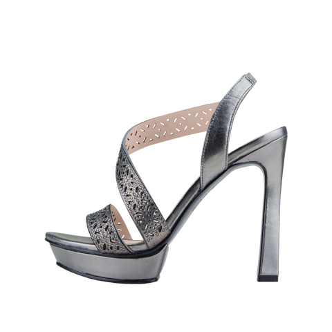 Pelle Moda POSEY Silver Leather Asymmetric Sandal | Women's Sandals – Pellemoda.us