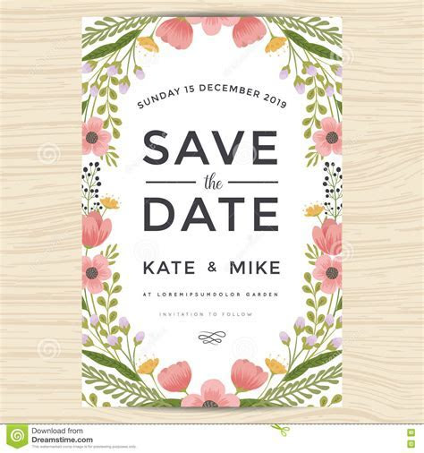 Save The Date, Wedding Invitation Card Template With Hand