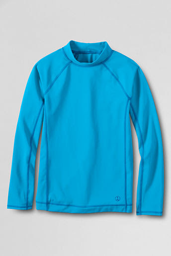 Boys' Long Sleeve Solid Rash Guard - Cyan