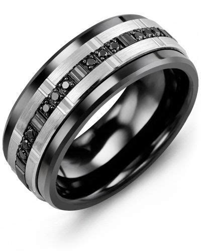 Men's Trio Black Diamonds Wedding Ring in 2019   Wedding
