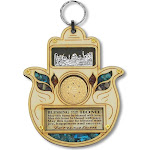 """My Daily Styles Wooden Hamsa Blessing Home - Good Luck Jerusalem Star of David Wall Decor Simulated Gemstones, 4.75"""""""