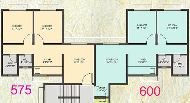 Anandgram Talegaon Dhamdhere 2 BHK Flat 1)  With Entrance Lobby 600 sq.ft. 2) Without Entrance Lobby 575 sq.ft.