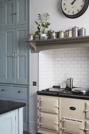 Farrow and Ball Green Blue and Farrow and Ball Mouse's Back kitchen