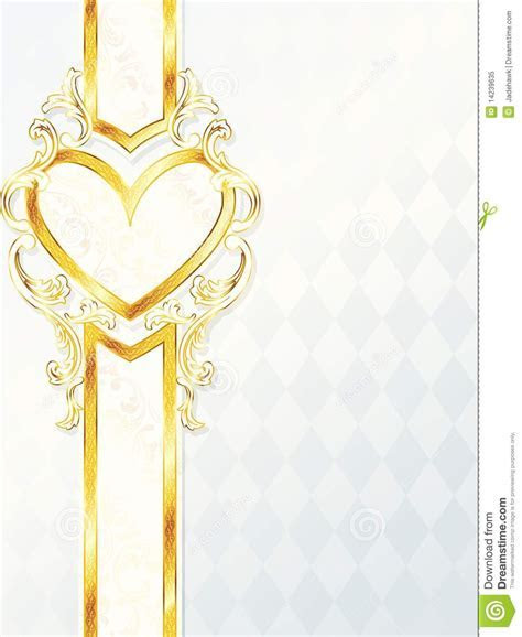 Vertical Rococo Wedding Banner With Heart Emblem Royalty