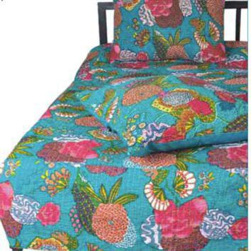 Karma Living   Boho Shabby Chic   Floral Quilt Set Turquoise  Teen ...