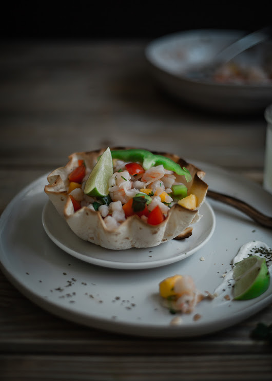 Shrimp Ceviche with Yellow Nectarine, and How To Make Taco Bowls at Home Easy