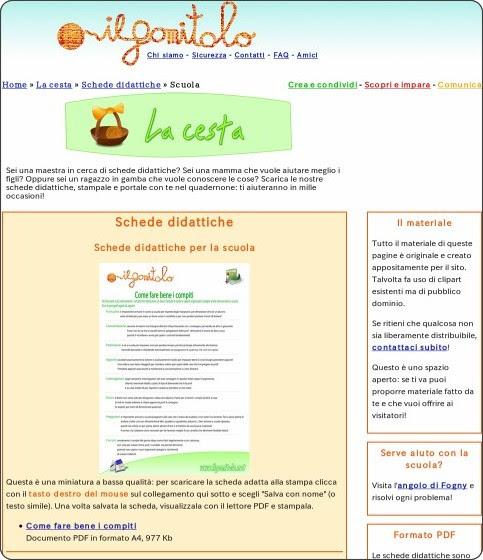 http://www.ilgomitolo.net/cesta/schede_didattiche/scuola/