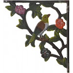 "Import Wholesales Decorative Cast Iron Wall Shelf Bracket Bird on Branch Color 7.625"" Deep"