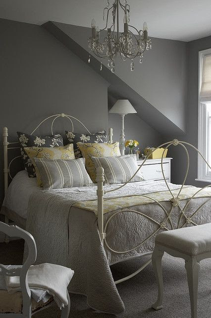 Gray bedroom with yellow accents- love the bed and the chandelier!!! This room is so inviting! I love the colors!