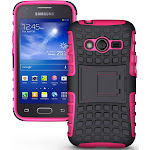 NAKEDCELLPHONE PINK GRENADE GRIP RUGGED TPU SKIN HARD CASE COVER STAND FOR SAMSUNG GALAXY ACE-4 (Lite G313 G313H)