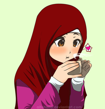 Image result for muslimah cartoon drink