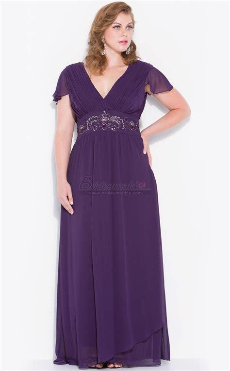 V Neck Chiffon Long Regency Plus Size Bridesmaid Dress