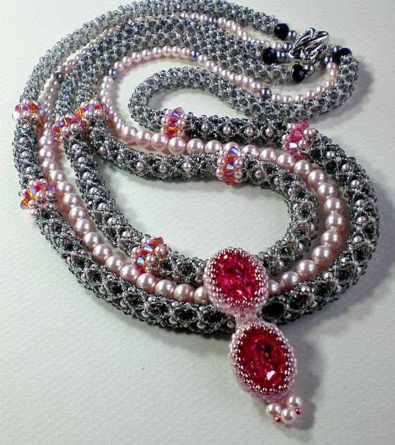 Rivoli Necklace Pink Fuchsia Beadwoven Beaded Beadweaving Unique Three Strands Jewelry  La Belle Paris
