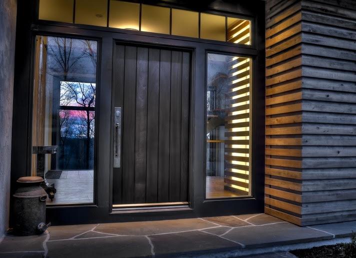 Contemporary Front Door Designs With Large Stainless Steel Door