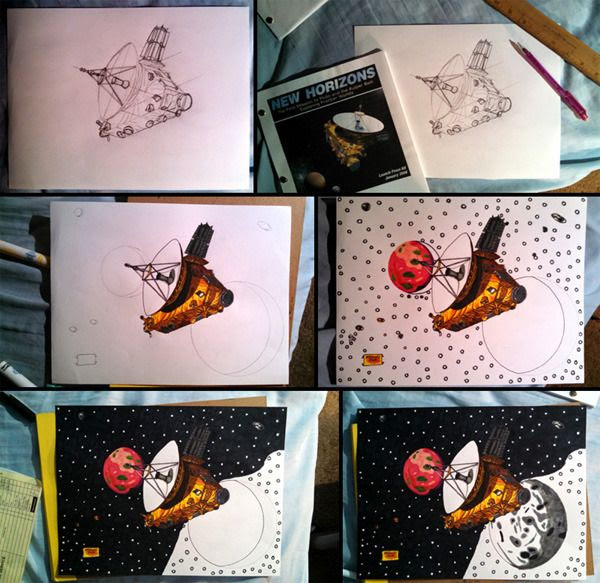 Work-in-progress photos of the drawing I made of NASA's New Horizons spacecraft exploring the dwarf planet Pluto and its five moons.