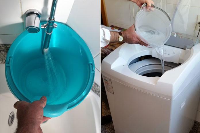 Balde pode ser usado para armazenar água do chuveiro enquanto a água é aquecida