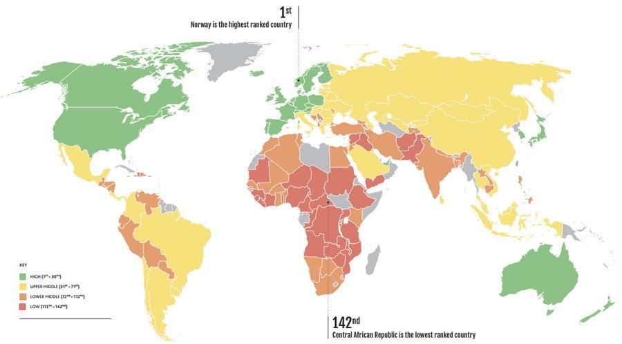 Таблица уровня жизни стран мира 2015