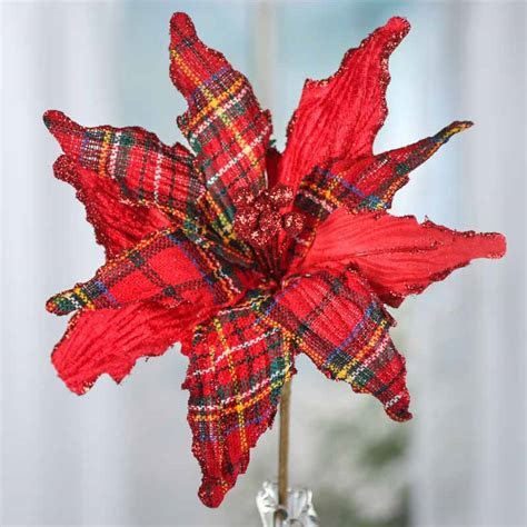 Sparkling Christmas Plaid and Velvet Artificial Poinsettia