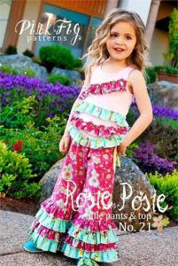 Pink Fig PF21 Rosie Posie Ruffle Pant & Top  Pattern 12m-10yrs, You can make them long or cropped and it comes with instructions for two coordinating