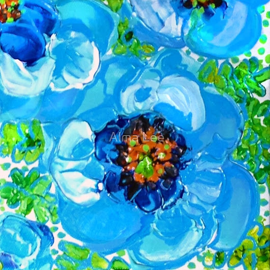 """Himalayan Blue: Poppy Painting by Alma Lee"" by Alma Lee 