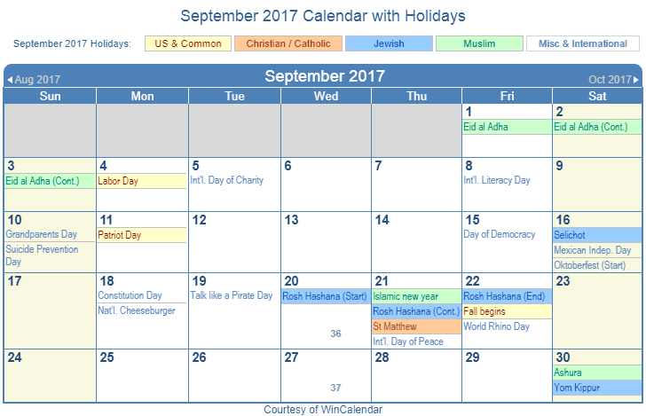 September 2017 Printable Calendar with US, Christian, Jewish, Muslim