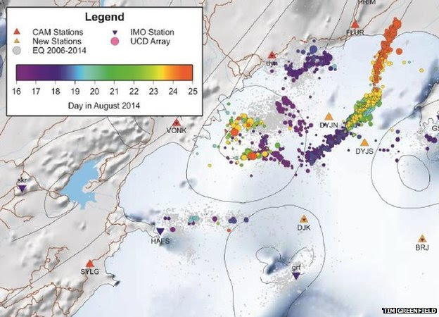 Schematic of earthquake locations