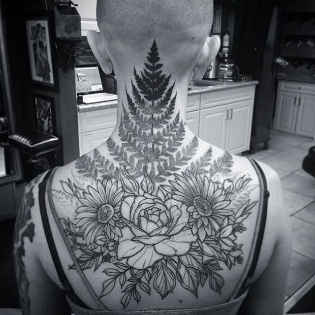 In Progress Floral Back Neck Tattoo Remington Tattoo Parlor