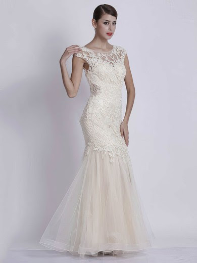 Trumpet/Mermaid Scoop Neck Tulle Floor-length with Appliques Lace Prom Dresses #UKM020103785
