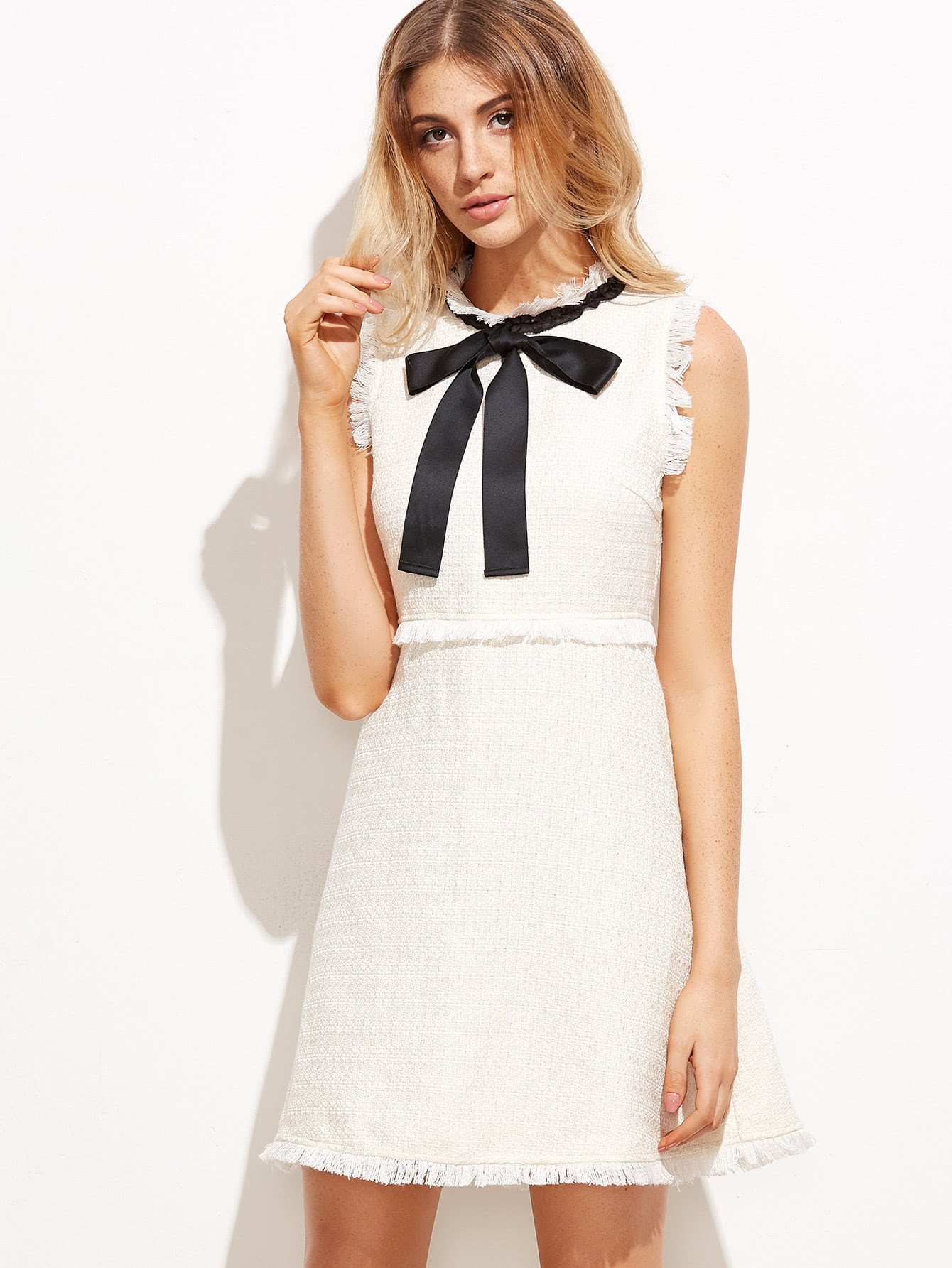 http://www.shein.com/White-Bow-Tie-Neck-Frayed-Trim-Tweed-Dress-p-320530-cat-1727.html?aff_id=8630